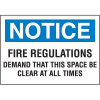 Notice Fire Regulations Self-Adhesive Vinyl Fire Signs