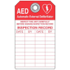 "AED Tag Inspect This Unit Carefully - 3""W x 5-3/4""H"