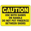 Baler Safety Signs - Caution Use Both Hands on Handle