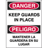 Bilingual Hazard Warning Labels - Danger Keep Guards In Place