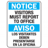 Visitors Must Report to Office English-Spanish Security Signs