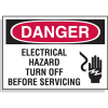 Hazard Warning Labels - Danger Electrical Hazard Turn Off Before Servicing