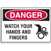 Hazard Warning Labels - Danger Watch Your Hands And Fingers (With Graphic)