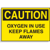 Hazard Warning Labels - Caution Oxygen In Use Keep Flames Away
