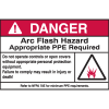 Hazard Warning Labels - Danger Arc Flash Hazard Appropriate PPE Required