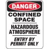 Heavy Duty Confined Space Signs - Danger Confined Space Hazardous Atmosphere Entry By Permit Only