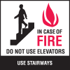In Case Of Fire Do Not Use Elevators Signs