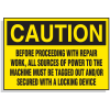 Lockout Hazard Warning Labels- Before Proceeding With Repair Work