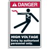 Lockout Hazard Warning Labels- High Voltage, Entry By Authorized Personnel Only