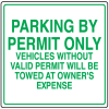 Parking Signs - Parking By Permit Only