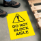Safety Floor Signs- Do Not Block Aisle (With Graphic)