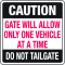 Automatic Gate Security Signs - Do Not Tailgate