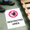 Safety Floor Signs- Restricted Area (With Graphic)