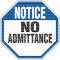 See Thru Security Labels - Notice No Admittance