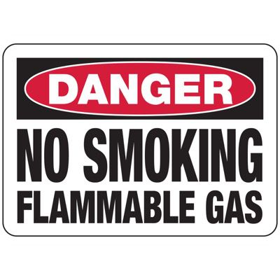 D-1 Danger No Smoking Flammable Gas - Aluminum