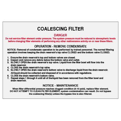 D-3 Coalescing Filter, Vinyl