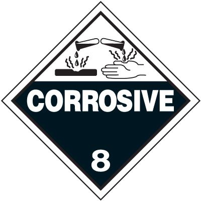 Corrosive 8 D.O.T. Placards