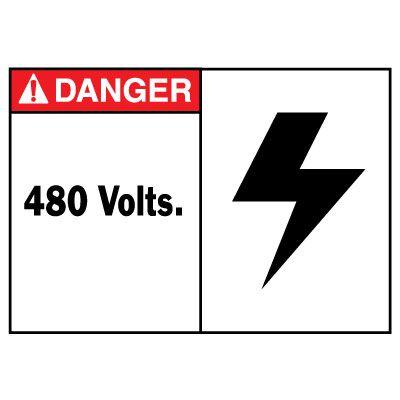 Danger 480 Volts Equipment Decal