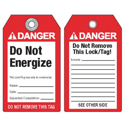 Danger Do Not Energize - ANSI Lockout Tags