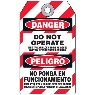 Danger Do Not Operate - Bilingual Heavy Duty Plastic Tag
