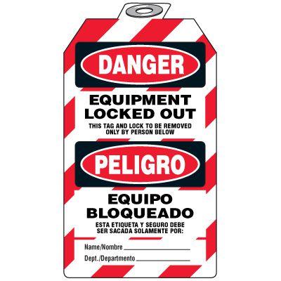 Danger Equipment Lock-Out - Bilingual Tag