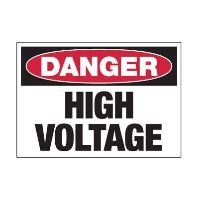Hazard Warning Labels - Danger High Voltage