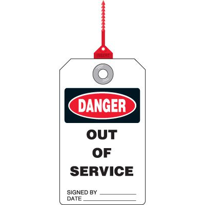 Danger Out of Service - Safety Tag with Self-Locking Seal