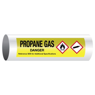 Danger Propane Gas - GHS Pipe Markers