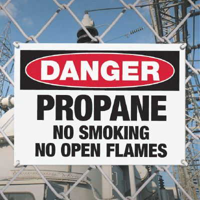 Danger Propane No Smoking - Industrial Chemical Warning Sign