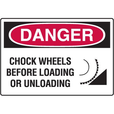 OSHA Danger Signs - Chock Wheels Before Loading Or Unloading