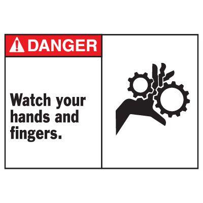 Danger Watch Your Hands Equipment Decal