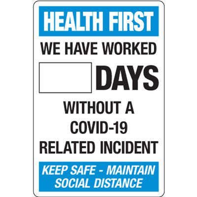 Days Without A COVID-19 Incident Dry Erase Scoreboard Sign
