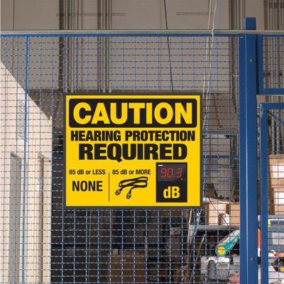 Decibel Meter Signs - Hearing Protection (Earplugs Symbol)