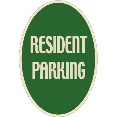 Designer Oval Signs -Resident Parking