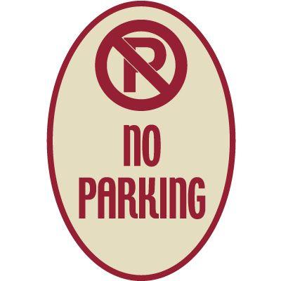 Designer Oval Signs - No Parking
