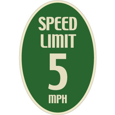 Designer Oval Signs - Speed Limit 5 MPH