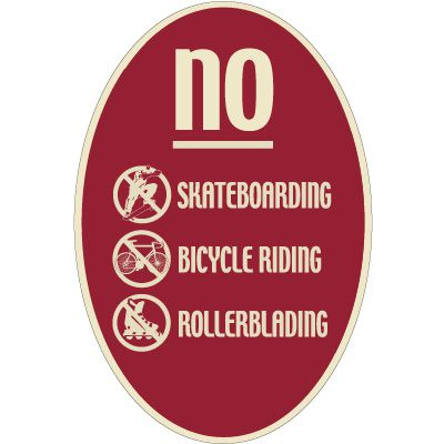 Designer Oval Signs - No Skateboarding