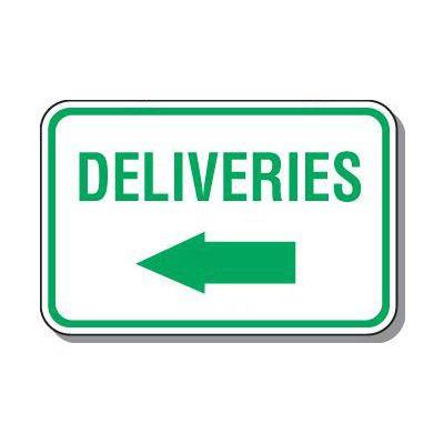 Directional Parking Signs - Deliveries (Left Arrow)