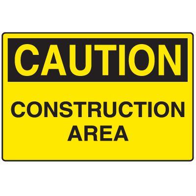 Disposable Plastic Corrugated Signs - Caution Construction Area