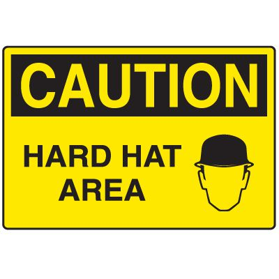Disposable Plastic Corrugated Signs - Caution Hard Hat Area