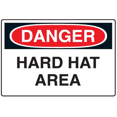 Disposable Plastic Corrugated Signs - Danger Hard Hat Area