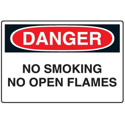 Disposable Plastic Corrugated Signs - Danger No Smoking No Open Flames