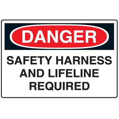 Disposable Plastic Corrugated Signs - Danger Safety Harness And Lifeline Required