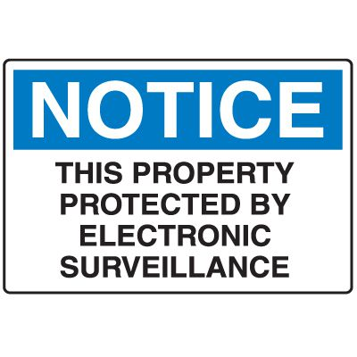 Disposable Plastic Corrugated Signs - Notice This Property Protected By Electronic Surveillance