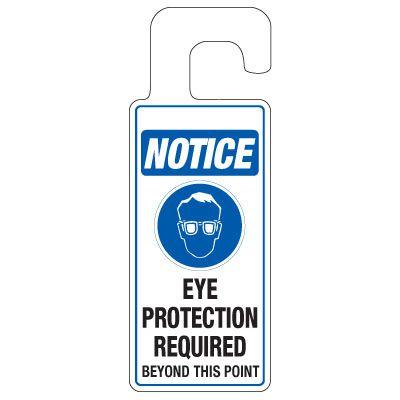 Door Knob Hangers - Eye Protection Required