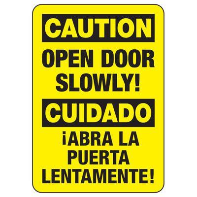 Bilingual Caution Open Door Slowly - Door Safety Sign
