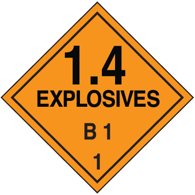 DOT Division 1.4 Explosives Placards