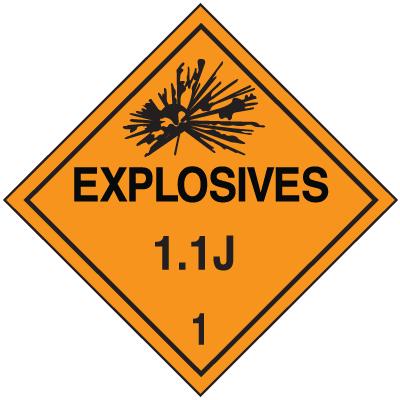 1.1J DOT Explosive Placards
