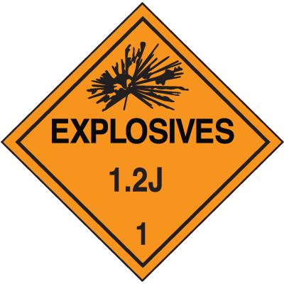 1.2J DOT Explosive Placards