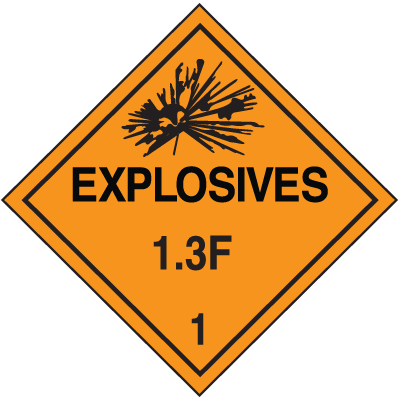 1.3F DOT Explosive Placards